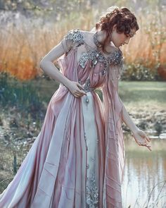 I don't know who does this sort of photo shoot but it looks like fun to wear such a fairy princess dress! Pretty Dresses, Beautiful Dresses, Fantasy Gowns, Fantasy Clothes, Fantasy Art, Fantasy Outfits, Fairy Clothes, Fairytale Fashion, Fairytale Dress