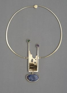 Necklace with pendant | Olaf Skoogfors.  Gilded silver, amethyst, tourmaline, sodalite.  ca. 1967