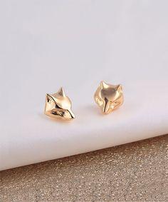 Gold Fox Stud Earrings