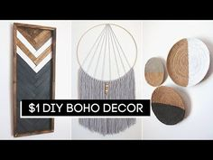 Today we're making DIY Room Decor! These Boho Room Decor projects are affordable and easy! DIY projects don't have to cost a lot when you're using Dollar Tre. Easy Diy Room Decor, Diy Wall Decor, Boho Room, Boho Living Room, Living Rooms, Boho Dekor, Dollar Tree Decor, Boho Diy, Decoration