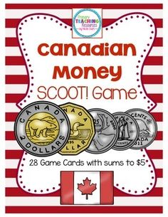 Canadian Money by Primary Teaching Resources Money Activities, Money Games, Teaching Activities, Teaching Math, Primary Teaching, Teaching Resources, 2nd Grade Math Games, 4th Grade Math, Measurement Activities