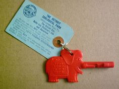 Red Elephant key, Detroit Zoo, Belle Isle Children's Zoo and Aquarium, You would in put it in the lock of a special box, and then it would turn on a narrative about the animal in the exhibit