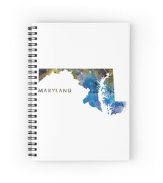 Maryland  #maryland #state #unitedstates #usa #map #art #print #spiral #notebook #stationery #gift #ideas #travel #abstract #minimalist #annapolis #baltimore #montgomery #county #germantown #city #america #country