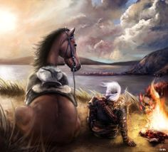 Geralt and Roach I think this is supposed to be quasi-romantic but it just makes me giggle.
