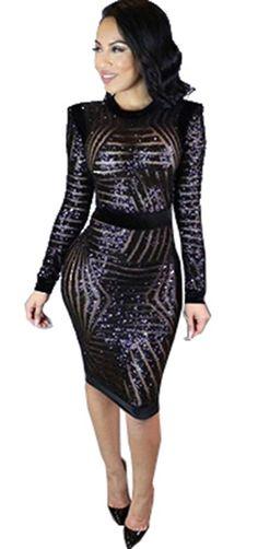 c957c4befc Kearia Womens Sexy Black Sequin Scoop Neck Long Sleeve Bodycon Party Midi Dress  Small Black