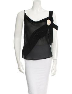 Black silk Victor & Rolf sheer sleeveless top with button adornments at front, drape accent at side and white floral embellishment at bust. Victor And Rolf, Viktor Rolf, Black Silk, Luxury Consignment, Tops, Women, Fashion, Moda, Fashion Styles