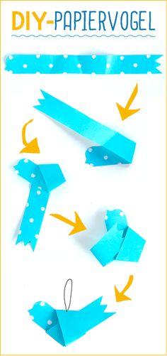 Was piepst denn hier – Zwitschernde Frühlingsboten aus Papier! Die niedlichen Vögel sind ganz fix gefaltet. Mit einem dünnen Faden könnt ihr sie ganz einfach an einem Blumenstrauß dekorieren. #Bastelanleitung auf #arskreativ #DIY