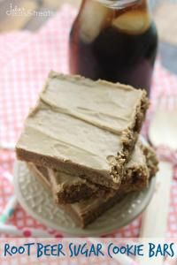 Root Beer Sugar Cookie Bars ~ Soft, Chewy Sugar Cookie Bars that Taste Like a Root Beer Barrel! on MyRecipeMagic.com