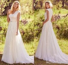 Newest Elegant Lace Appliques Tulle Modest Wedding Dresses With Cap Sleeves V Neck Buttons Back Beaded Belt Country Bohemian Wedding Gowns Chiffon A Line Wedding Dress Designer Wedding Dresses Cheap From Enjoylife007, $101.31  Dhgate.Com