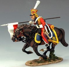 Napoleon's Grande Armee NA161 Charging Red Dutch Lancer - Made by King and Country Military Miniatures and Models. Factory made, hand assembled, painted and boxed in a padded decorative box. Excellent gift for the enthusiast.
