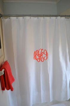Custom Monogrammed Shower Curtain by lilandgaines on Etsy.maybe for my daughter's room New Room, Apartment Living, Dorm Room, My Dream Home, Just In Case, Decoration, Sweet Home, Room Decor, Curtains