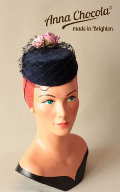 1940s 50s NAVY VELVET BURLESQUE PILLBOX HAT pink roses Anna Chocola Brighton