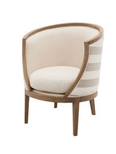 Pearl Chair by SHINE by S.H.O.- love the unique shape, also white oak, natural and cabana stripe linen fabric makes it perfectly beachy & nautical