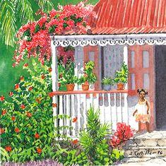 Petite Maison by Anne Miller, x watercolour print Watercolor Print, Caribbean, Outdoor Structures, Wreaths, Watercolours, Architecture, Gallery, Home Decor, Art