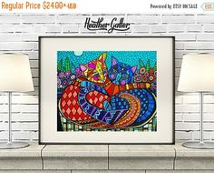 50% Off SALE- 2 Cats Art Poster Print of Painting by Heather Galler (HG101)Digital File