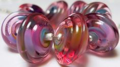 Lampwork Beads Purple Pink Green Blue Handmade | NewCreationBeads - Jewelry on ArtFire