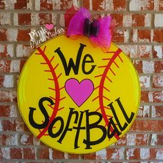 We Heart Softball Wooden Door Hanger by Pink Brushstrokes