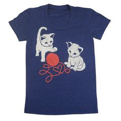 Kittens - Womens T-shirt Girls Tee Shirt Adorable Cat Cute Love Cats Kitten Red Yarn Heart Animal T-shirt - Ath Indigo Blue - S, M, L, XL. $25.00, via Etsy.