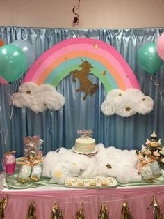 Pastel unicorn birthday party! See more party planning ideas at CatchMyParty.com!