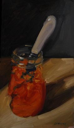 A Daily Painting. Home Made Marmalade. oil on board. 8 x 14 ins approx. Eugene Conway.