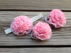 Pink and Polka Dot - Silk Ruffle Flower Headband and Oversized Barefoot Baby Sandal set on Etsy, $14.50
