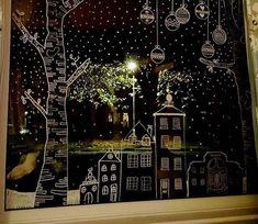 festive window art of chalk pencil. - festive window art of chalk pencil. Chalk Pens, Chalk Art, Elegant Christmas, Christmas Art, Painted Windows For Christmas, Christmas Landscape, Simple Christmas, Window Markers, Christmas Window Decorations