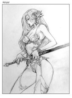 본문 이미지 I like the sword design. Character Sketches, Art Sketches, Sexy Drawings, Art Drawings, Realistic Drawings, Fantasy Character Design, Character Art, Weiblicher Elf, Arte Game Of Thrones