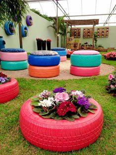 Recycled garden - 48 Delightful Cascading Planter Ideas For Small Space Gardening – Recycled garden Tire Planters, Garden Planters, Outdoor Planters, Balcony Garden, Tire Furniture, Garden Furniture, Furniture Ideas, Upcycled Furniture, Outdoor Furniture