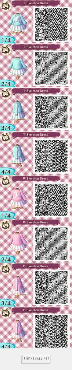 Teal and Pink skeleton dress, Pastel goth? ACNL QR Code