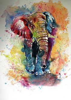 Buy Funny elephant x 56 cm), Watercolour by Kovács Anna Brigitta on Artfinder. Discover thousands of other original paintings, prints, sculptures and photography from independent artists. Funny Elephant, Elephant Love, Elephant Art, Elephant Tattoo Design, Elephant Tattoos, Funny Paintings, Animal Paintings, Original Paintings, Original Art