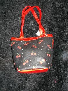 new whimsical black and red cherry hearts mini handbag girl's purse children
