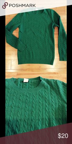 Green cable knit sweater Crewneck cable knit sweater in wool/nylon/cashmere blend. No snags, stains, or pilling! J. Crew Sweaters Crew & Scoop Necks
