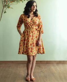 Sunflower Hand Block Printed Wrap Dress