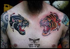 Chest piece tattoo,traditional panther tattoo,traditional tiger colour tattoo by Lonis #lonistattoo www.lonistattoo.com