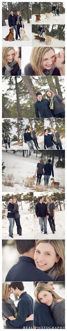 engagement portraits in the snow with dogs colorado springs photographer