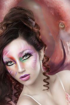 "DNI Make-up campain ""Flamingo 2012"" by Rebeca Saray Gude, via Behance"