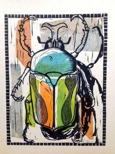 print making ideas printmaking Escaravellos Beetle, Linocut by Alison Headley Art And Illustration, Illustrations, Linocut Prints, Art Prints, Block Prints, Lino Art, Posca Art, Bug Art, Insect Art