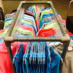 """39 DIY Retail Display Ideas (from Clothing Racks to Signage) Rectangular Free Standing Clothing Rack. See more ideas like this one in DIY Retail Display Ideas (from Clothing Racks to Signage"""": Clothing Booth Display, Clothing Displays, Retail Clothing Racks, Boutique Interior, Pop Up Market, Diy Clothes Rack, Vendor Booth, Store Displays, Booth Displays"""