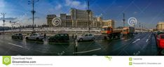 Photo about Beautiful panorama from Bucharest, Romania with Romanian Parliament and traffic boulevard in winter season. - 106259768