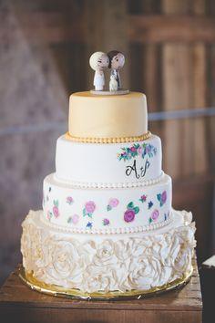 Four-Tier Rosette Fondant Wedding Cake