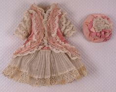 Wonderful Antique Pink Silk Satin Small French Bebe Dress and Bonnet for JUMEAU, BRU other French Doll