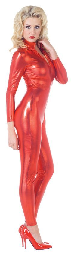 59.95$  Buy here - http://vijog.justgood.pw/vig/item.php?t=e33z7ez20169 - Halloween Costume Sexy Lady Stretch Jumpsuit Red Metalic Costume By Underwraps X 59.95$