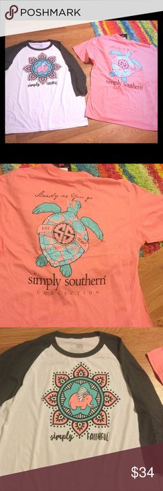 NWT Simply Southern XXL-2 shirts You get 2 shirts, both XXL, 1 new with tags and short sleeve and 1 baseball style shirt made by Simply Faithful.  Simply Southern makes Simply Faithful. Simply Southern Tops Tees - Short Sleeve