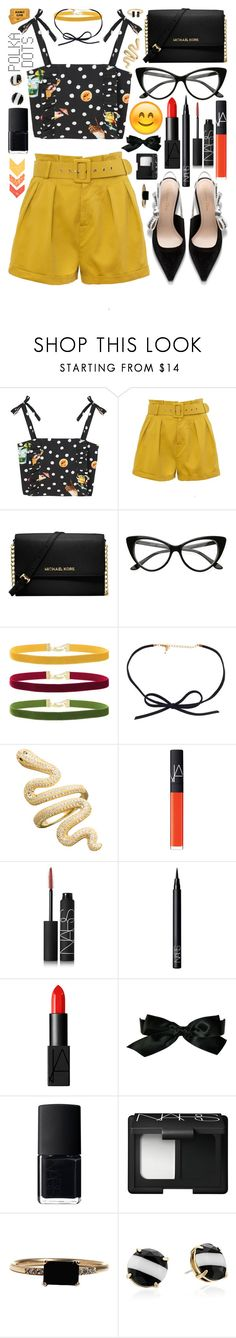 """""""{it's a shot in the dark, but I'll make it}"""" by kk-purpleprincess ❤ liked on Polyvore featuring MANGO, Michael Kors, Janis, DOSE of ROSE, NARS Cosmetics, Chanel, LUMO, Kate Spade and kkspurplestyle"""