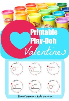 Play-Doh Valentines - FREE Printable and Play-Doh Deal. Valentines DIY. Valentines Craft. FREE Valentines