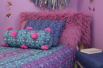 Boho Chic bedroom- Large Fur Pillow DIY -  features Curly Yak Fur Rosewood  http://www.shannonfabrics.com/index.php?main_page=product_info&cPath=969_998&products_id=3326 and notions from Fairfield World
