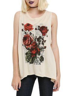 3b6eaa877e Floral Skull Script Slit Back Girls Tank Top