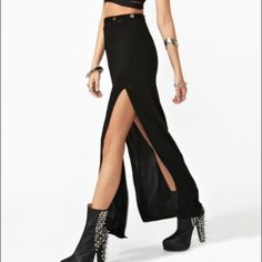 Nasty gal maxi skirt High waisted maxi skirt with double split.   Please make all offers using the Offer button Nasty Gal Skirts Maxi