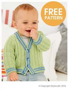 free pattern for this dressy baby cardigan made with Stylecraft Lullaby DK on US 3 knitting needles Crochet Baby Cardigan Free Pattern, Baby Boy Knitting Patterns Free, Knitting For Kids, Sweater Knitting Patterns, Baby Patterns, Baby Boy Cardigan, Knit Baby Sweaters, Barn, Babies