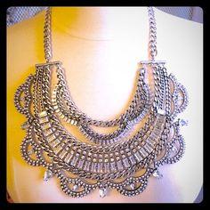 Baublebar crystal statement bib NWOT. Wow!  Stunning crystal statement bib. Silver toned. Clear crystals. Adjustable clasp. Baublebar Jewelry Necklaces